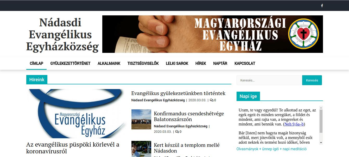 Nádasdi Evangélikus Egyházközség honlapja